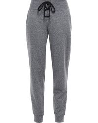 DKNY Lace-up Printed French Cotton-blend Terry Track Pants - Gray
