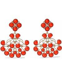 Kenneth Jay Lane - Gold-tone Stone Clip Earrings Tomato Red - Lyst