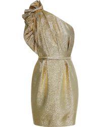 Stella McCartney - Polly One-shoulder Ruffle-trimmed Lamé Mini Dress Gold - Lyst