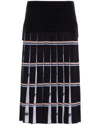 Vivetta Pleated Metallic Wool Midi Skirt - Black