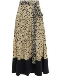 Proenza Schouler Twill-paneled Printed Crepe Midi Skirt Sage Green
