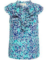 Paloma Blue Sophia Ruffled Floral-print Silk Crepe De Chine Top - Blue