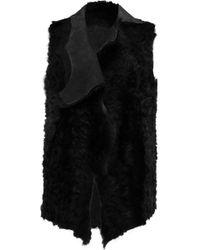 Karl Donoghue | Alpine Draped Shearling Gilet Dark Green | Lyst