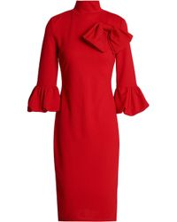 Raoul - Bow-embellished Flared Cotton-blend Crepe Dress - Lyst