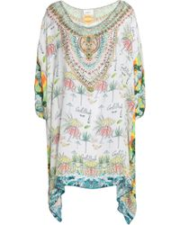 Camilla Miranda's Diary Crystal-embellished Printed Silk Kaftan Light Green
