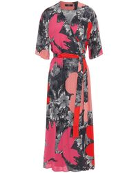 PS by Paul Smith Printed Crepe Midi Wrap Dress - Red