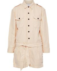 Current/Elliott The Kaya Belted Cotton And Linen-blend Twill Playsuit - Natural