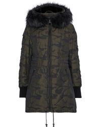 DKNY Shell-jacquard Hooded Down Coat Army Green