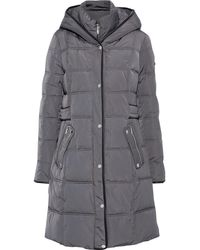DKNY Quilted Shell Hooded Coat Anthracite - Grey