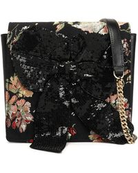 Rochas - Sequined Bow-embellished Leather And Jacquard Shoulder Bag - Lyst