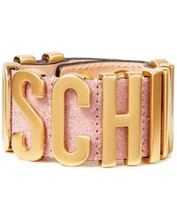 Moschino Gold-tone And Glittered Suede Bracelet Baby Pink