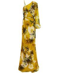 Michelle Mason Asymmetric Floral-print Silk-chiffon Wrap Gown - Yellow