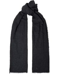 James Perse Fringed Brushed Mélange Wool And Silk-blend Scarf - Grey