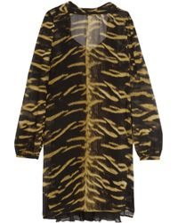 Roberto Cavalli - Open-back Printed Silk-chiffon Mini Dress - Lyst