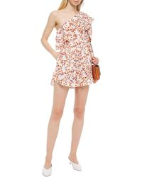 Maje Irene One-shoulder Ruffled Metallic Fil Coupé Floral-jacquard Playsuit - Multicolour