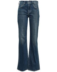 Current/Elliott Faded Mid-rise Flared Jeans Mid Denim - Blue