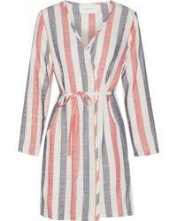 Solid & Striped The Erin Striped Cotton-blend Gauze Robe - Multicolour