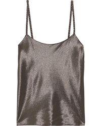 Max Mara Messina Silk-blend Lamé Camisole Platinum - Multicolor
