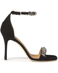 Tory Burch Crystal-embellished Suede Sandals - Black