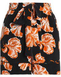 Ganni - Floral-print Crepe De Chine Shorts - Lyst