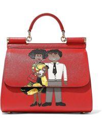 498bd3ce978d Dolce   Gabbana - Woman Appliquéd Textured-leather Shoulder Bag Red - Lyst