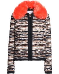 Carven - Faux Fur-trimmed Tweed Jacket - Lyst