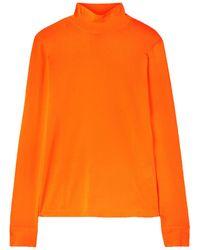Les Rêveries Les Rêveries Neon Stretch-knit Turtleneck Top Bright Orange