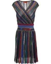 Missoni Wrap-effect Metallic Striped Crochet-knit Dress Royal Blue