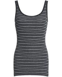 Vince - Striped Ribbed Pima Cotton Tank Dark Grey - Lyst