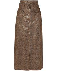 Nanushka Aarohi Belted Snake-effect Vegan Leather Midi Skirt Animal Print - Brown