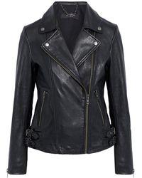 Muubaa Adeline Leather Biker Jacket - Black