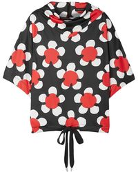 Marc Jacobs Oversized Draped Floral-print Jersey Top Black