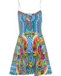 Camilla - Book A Shade Embellished Printed Silk Crepe De Chine Mini Dress Bright Blue - Lyst