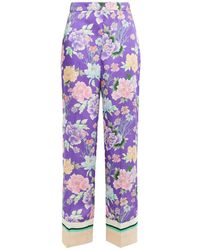 Sandro Jaly Floral-print Satin-twill Wide-leg Trousers - Purple