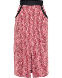 Maje Split-front Bouclé Midi Pencil Skirt Red