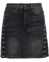 3x1 Corset Embellished Denim Mini Skirt - Grey