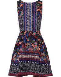 Saloni - Jess Printed Cloqué Mini Dress Purple - Lyst