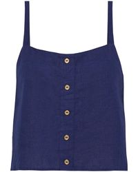 Onia Bree Cropped Button-embellished Linen Top - Blue