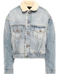 R13 Shearling-lined Denim Jacket Light Denim - Blue