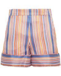 Victoria, Victoria Beckham Striped Woven Shorts - Multicolour
