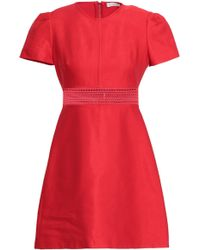 Sandro Lace-trimmed Cotton-blend Twill Mini Dress Red