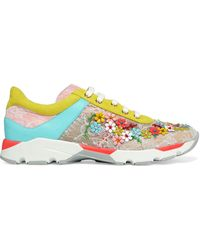 Rene Caovilla Embellished Color-block Lace And Leather Trainers - Multicolour