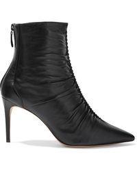 Alexandre Birman Susanna Ruched Textured-leather Ankle Boots Black