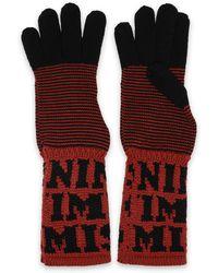 Missoni Two-tone Intarsia Wool Gloves Light Brown
