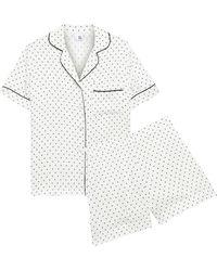 Iris & Ink Margaret Polka-dot Satin Pajama Set - White