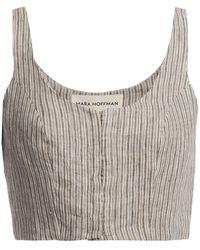 Mara Hoffman Aisha Cropped Striped Linen Top - Multicolour