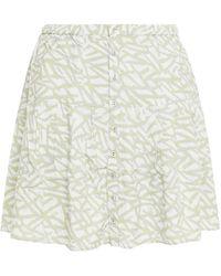 Hofmann Copenhagen Arielli Pleated Printed Woven Mini Skirt Light Grey - Multicolour
