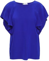 Lanvin Ruffled Silk Crepe De Chine Blouse Royal Blue