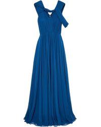 Jason Wu Cold-shoulder Pleated Silk-chiffon Gown - Blue