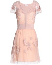 RED Valentino - Appliquéd Point D'esprit And Knitted Mini Dress - Lyst